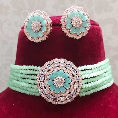 Beautiful Stylish Crystal Green Stone Necklace and Earring 3