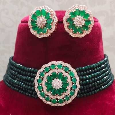 Beautiful Stylish Crystal Green Stone Necklace and Earring 1