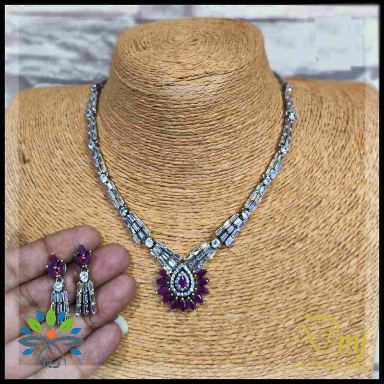Stylish Crystal Purple Cut stone Necklace And  Earrings