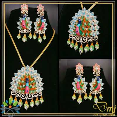 Beautiful Spiral Peacock Pendant and Earring1